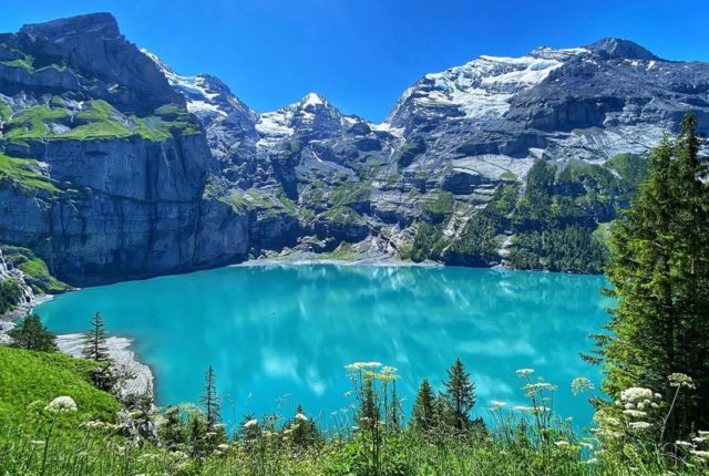 Oeschinen Lake, Oeschinensee, Kandersteg, Bern, Switzerland
